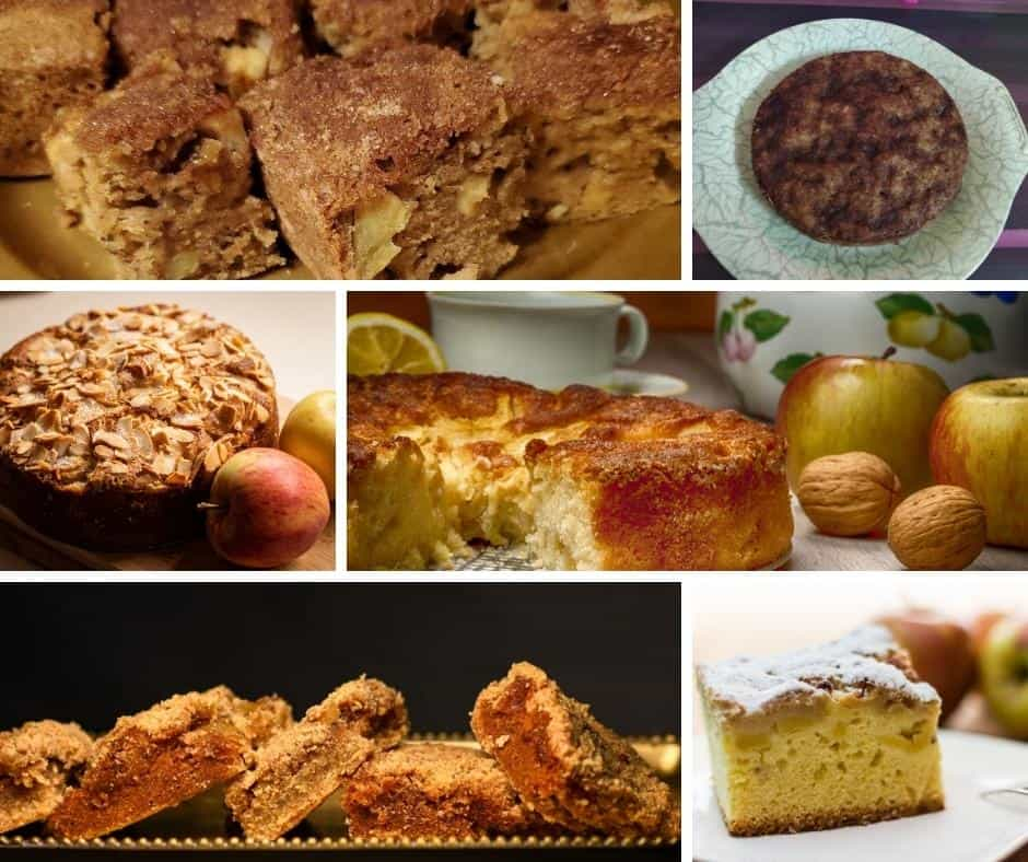 collage of apple cake images