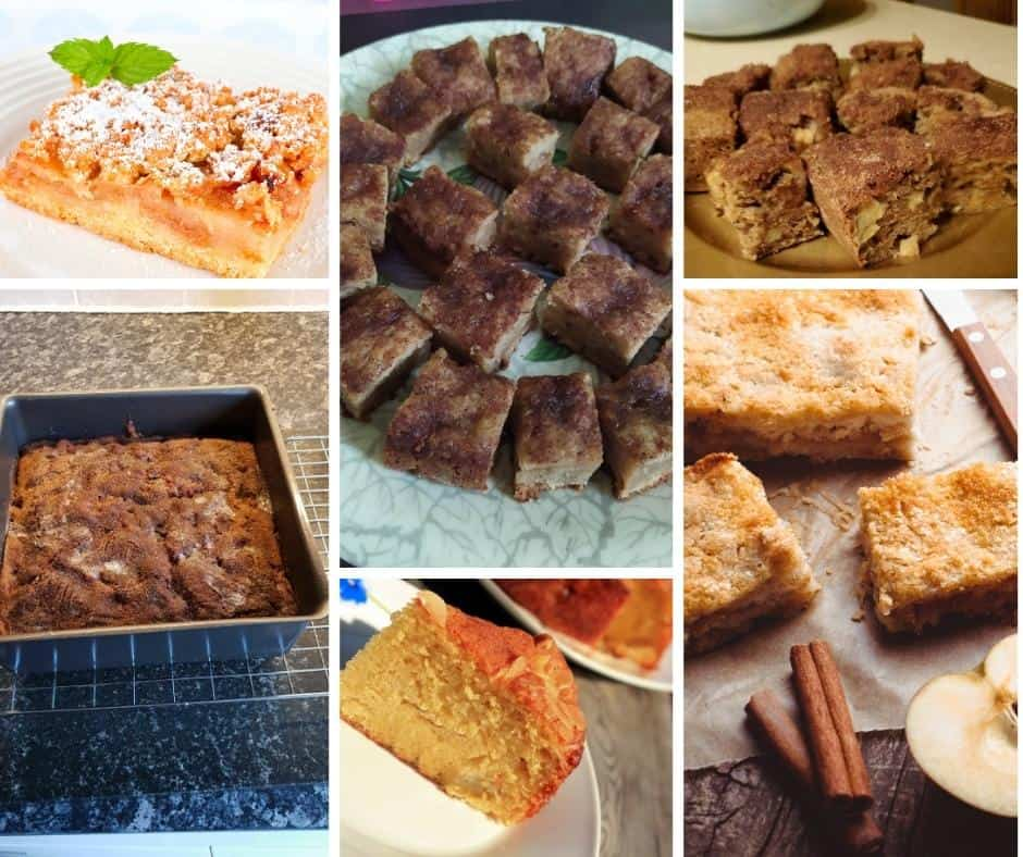 collage of images from the apple cakes