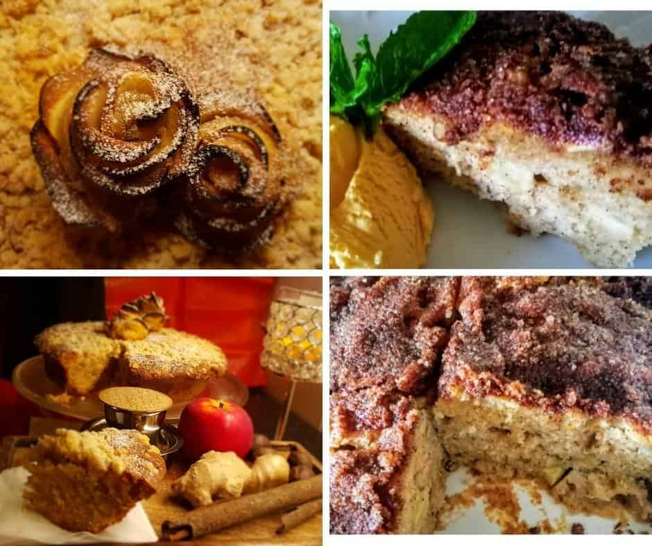 collage of images from the apple cake