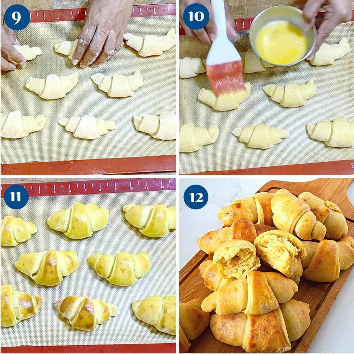 Progress pictures collage baking the crescent rolls.