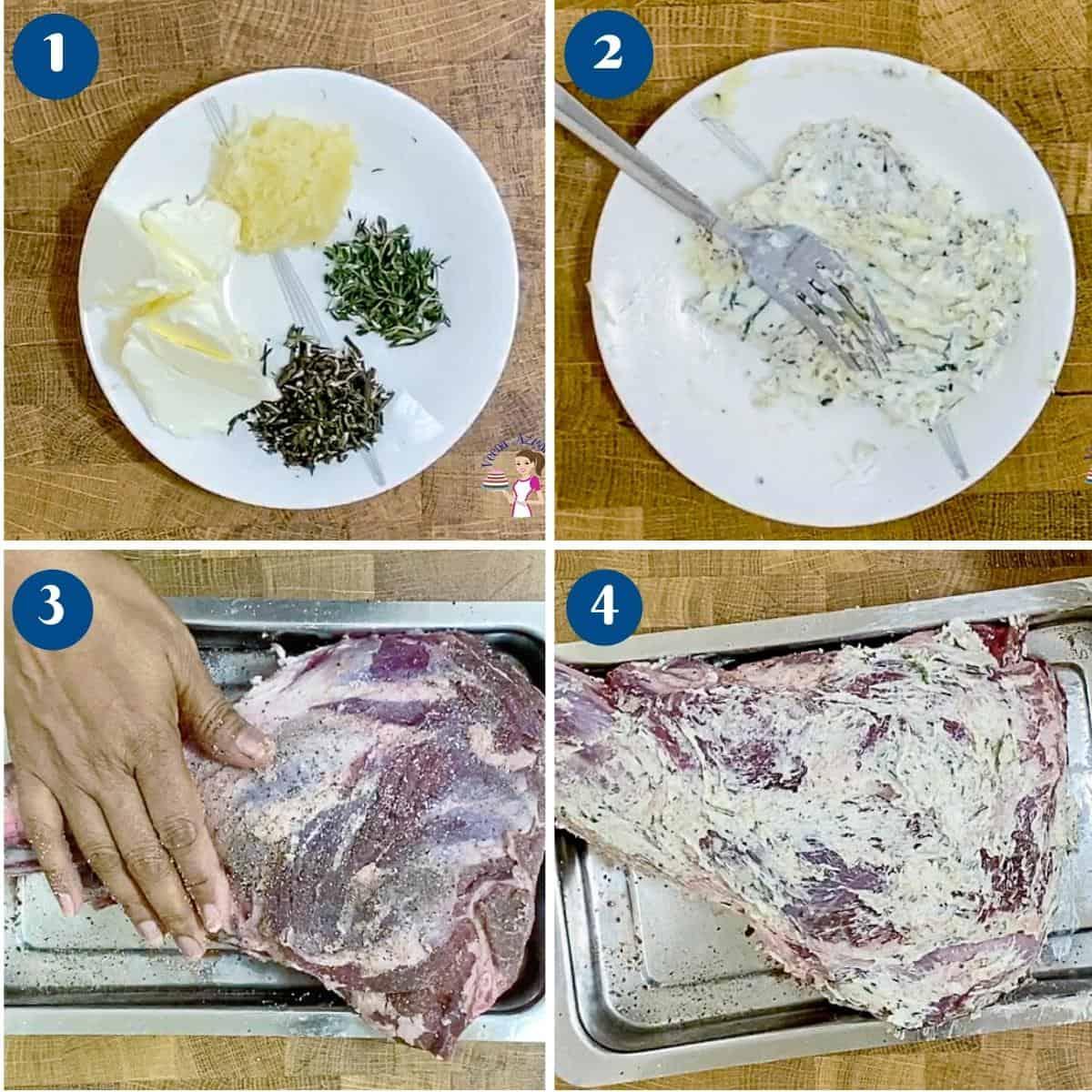 Progress pictures marinating the lamb.