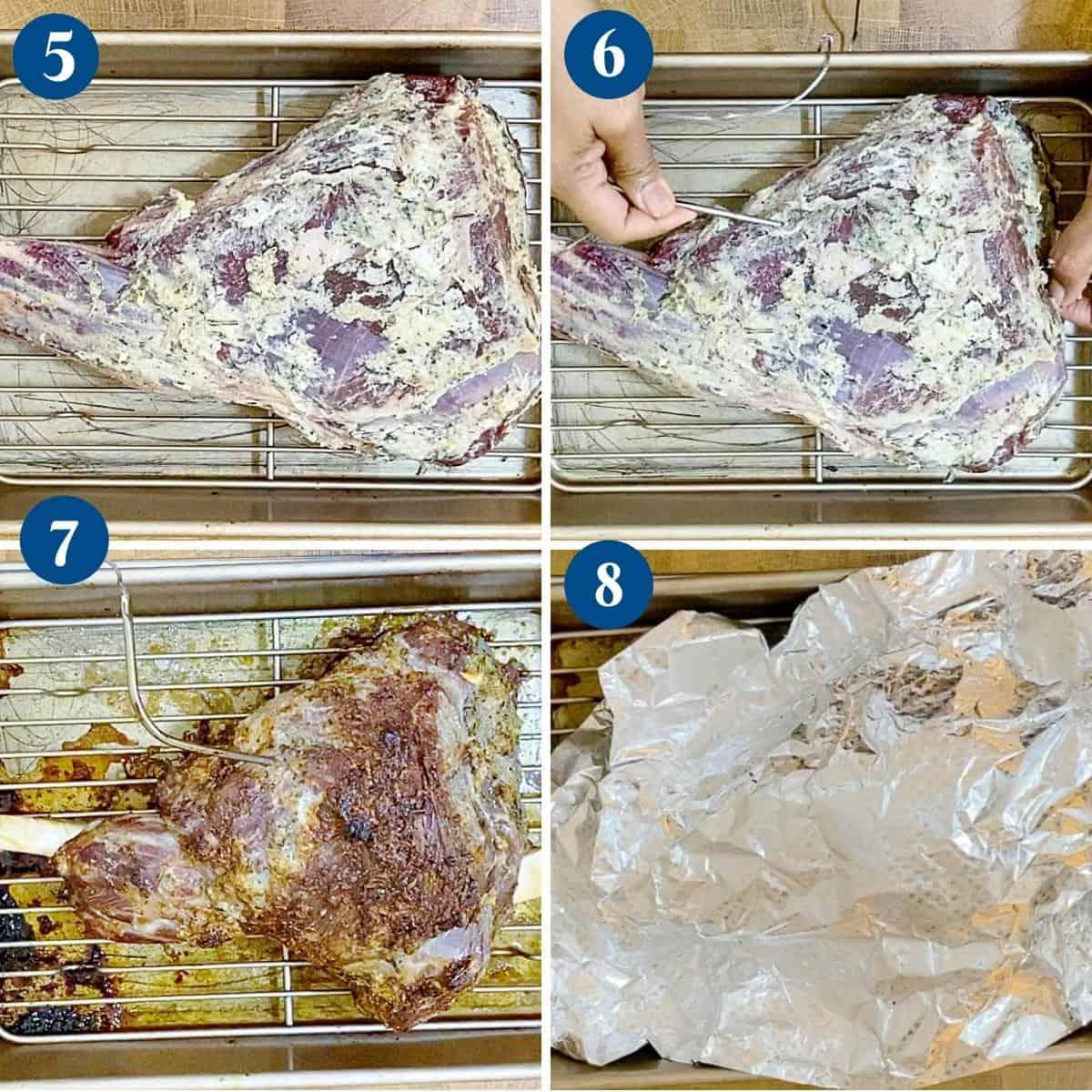 Progress pictures roasting the lamb leg.