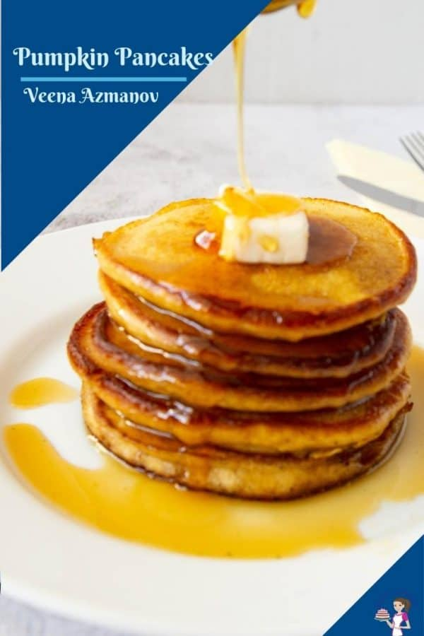 a Pinterest image for pumpkin pancakes