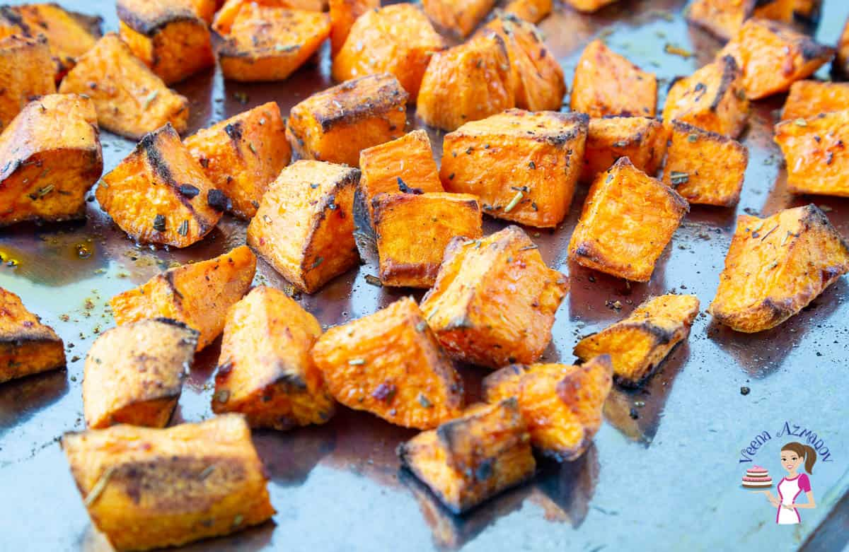 Roasted sweet potato on a baking tray