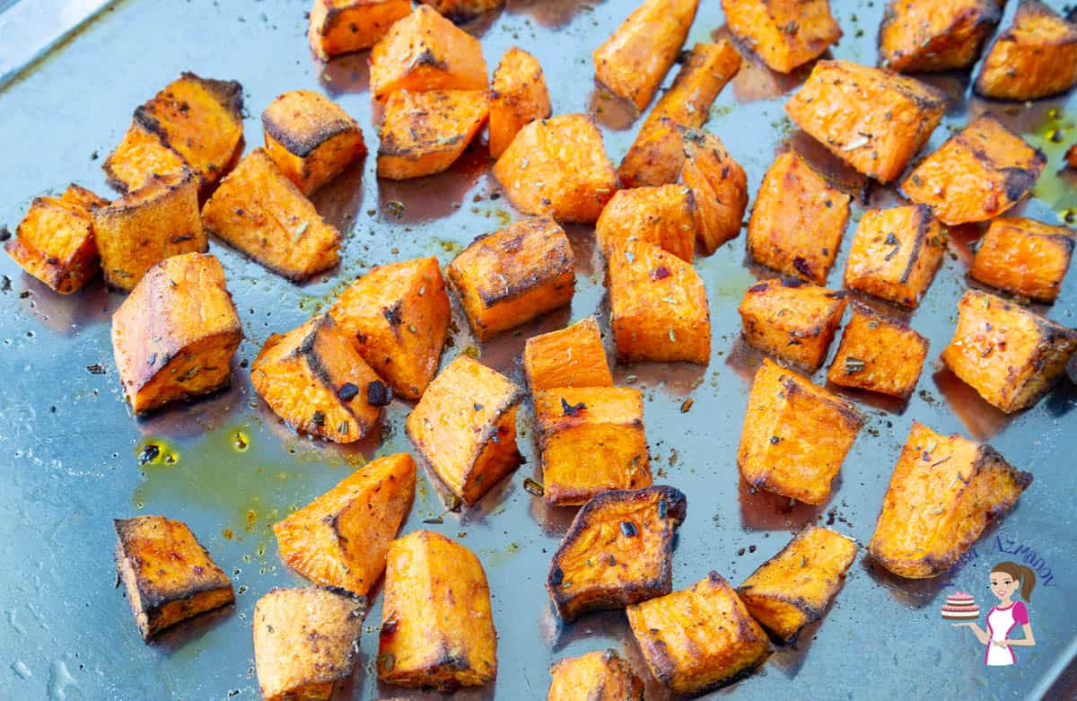 A tray with baked sweet potatoes