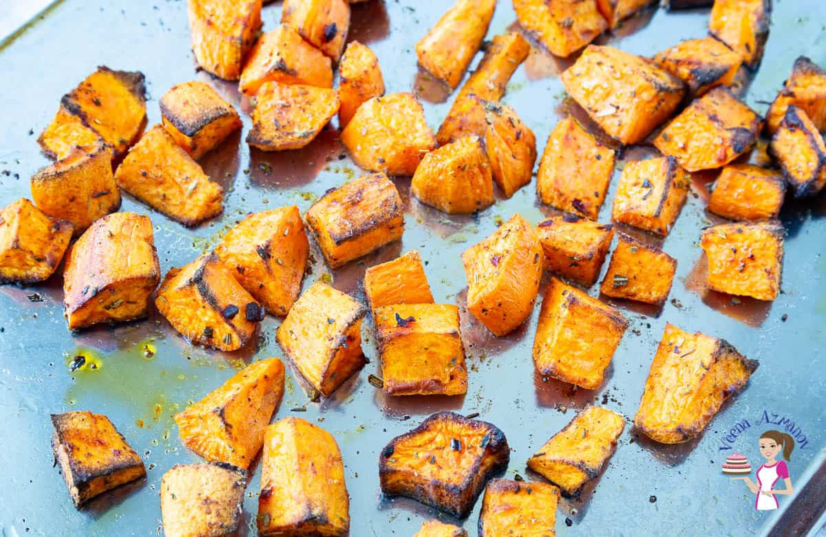 Sweet potato on a baking tray