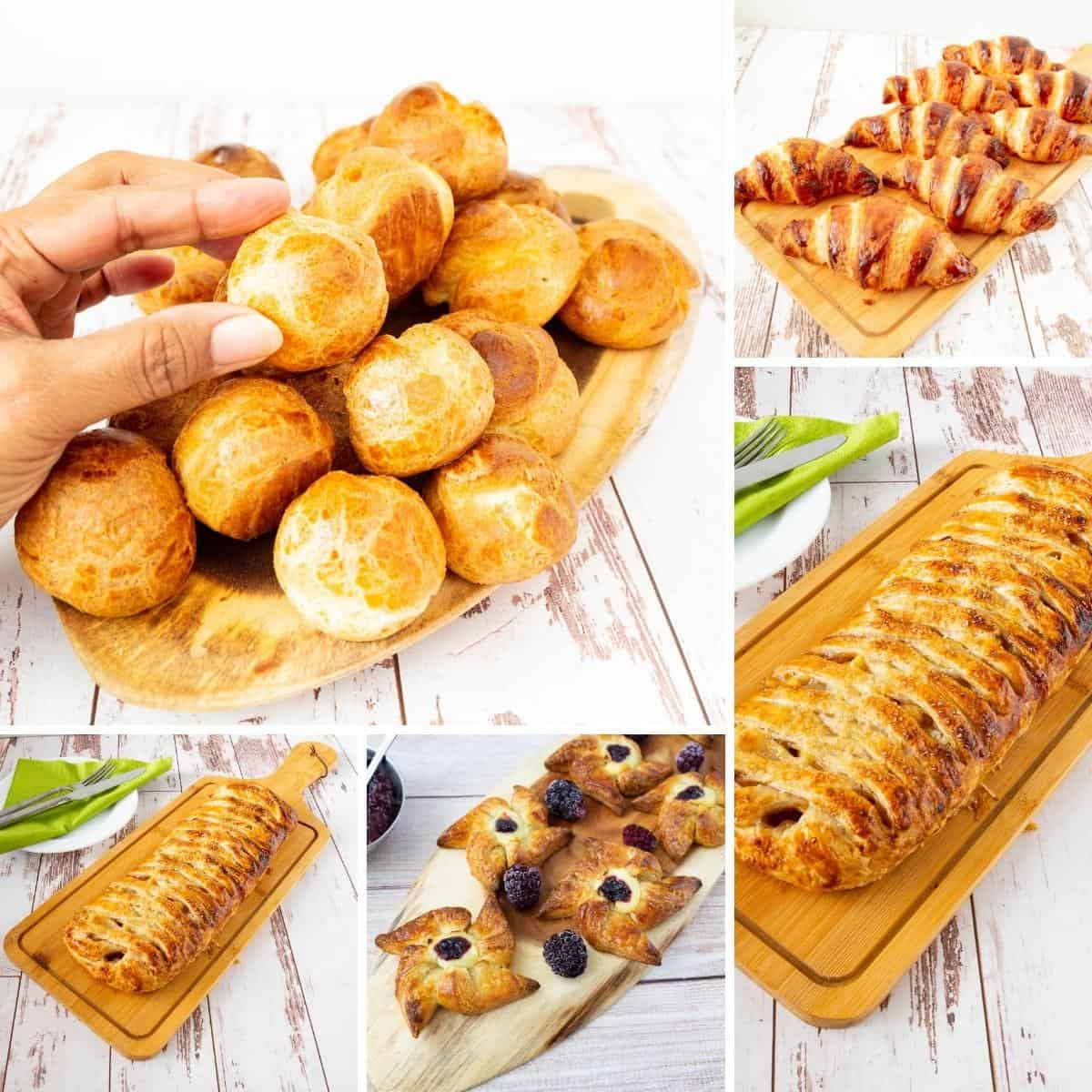 A collage of pastries for baking