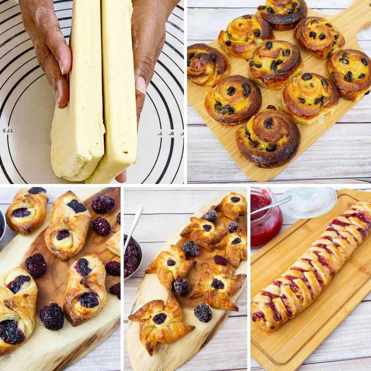 A collage of Danish pastry and vriations
