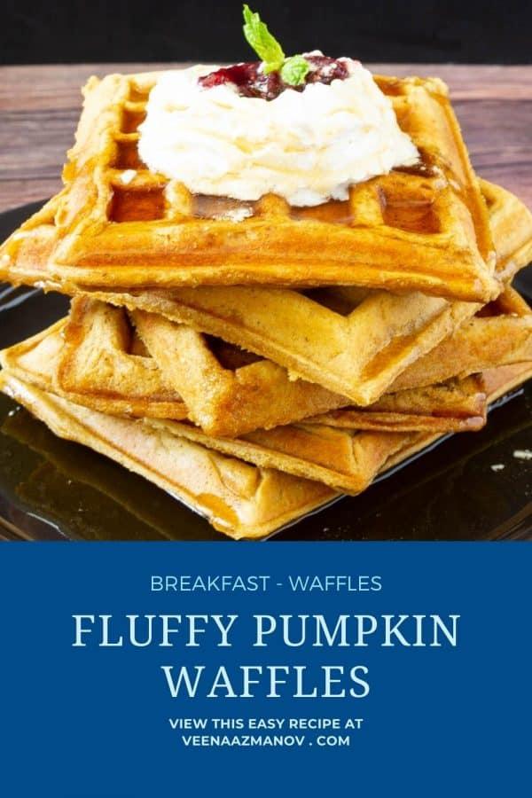 Pinterest image for pumpkin waffles.