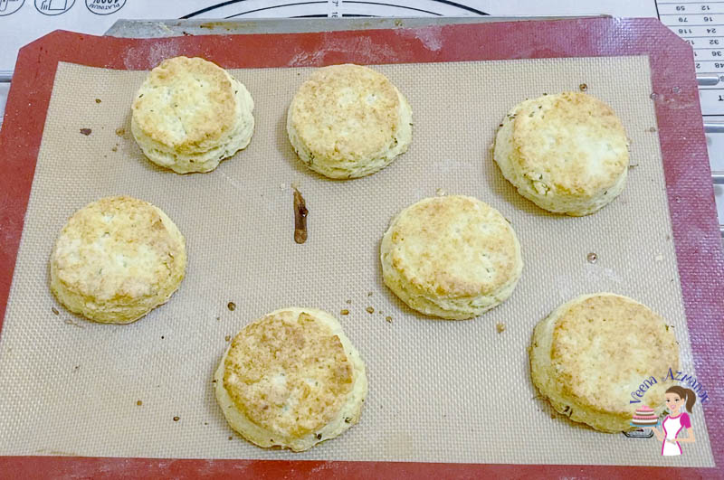 Bake the cheddar cheese biscuits until lightly golden