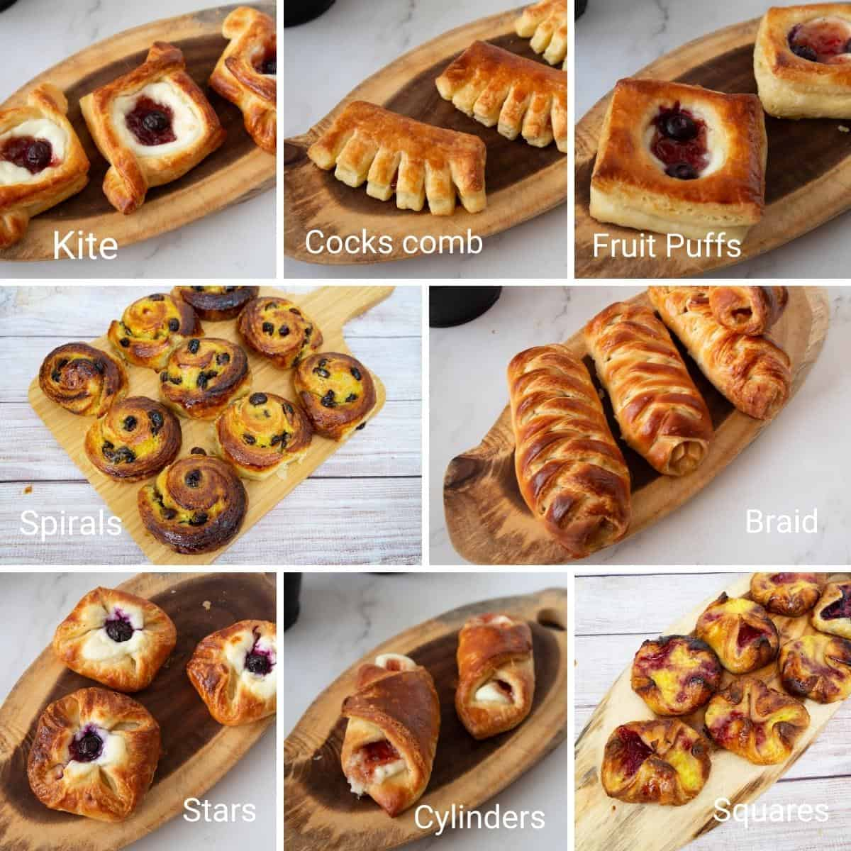 Danish Pastry Collage showing different danish shapes.