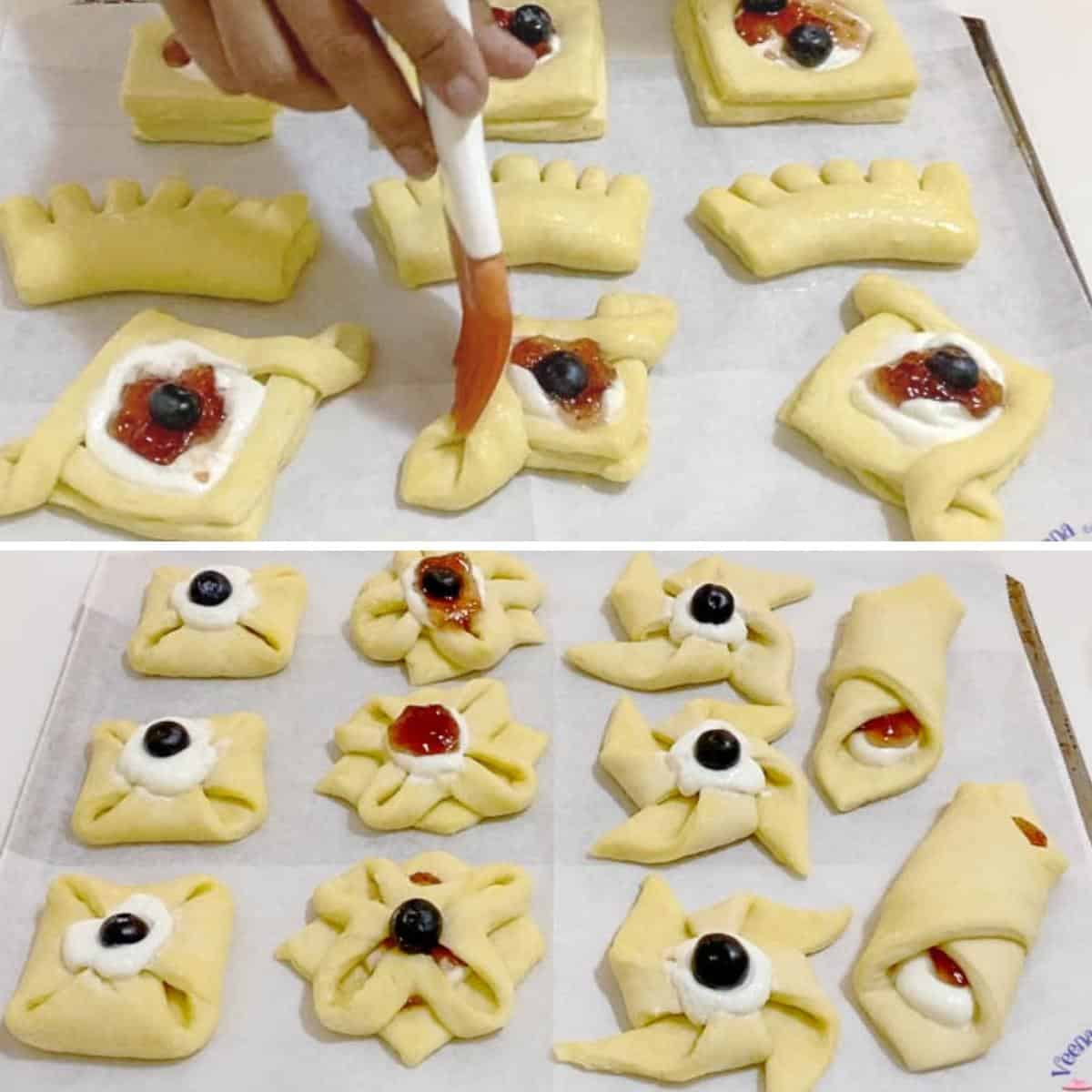 Danish pastry progress pictures - brush pastry with egg wash.