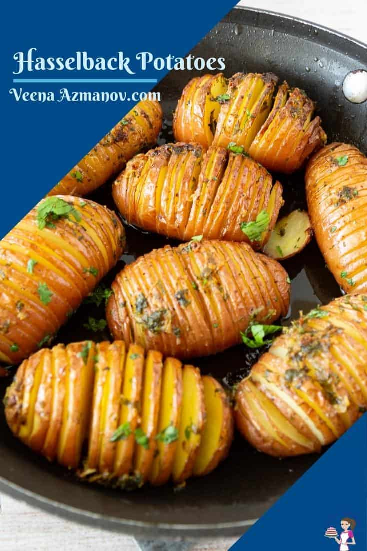 These Hasselback potatoes are crisp as roasted potatoes on the outside but soft as mashed potatoes on the inside and are easier to make too. These take just 10 minutes hands-on and 60 minutes to bake #hasselback #potatoes #hasselbackpotatoes #bestpotatoes #sidedish #potatosidedish #potatorecipes #bakedpotatoes #bakingpotatoes #potato via @Veenaazmanov