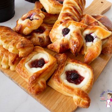 Danish pastries on a wooden board