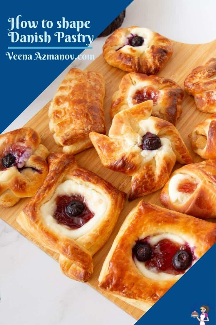 Make your own Danish pastry (also called breakfast pastry) from scratch with a variety of wonderful fillings and shapes. This flaky, buttery, rich pastry is a laminated dough similar to croissants and puff pastry.  #danishpastry #danish #laminateddough #pastry #breakfastpastry #easylaminateddough #danishfromscratch  via @Veenaazmanov