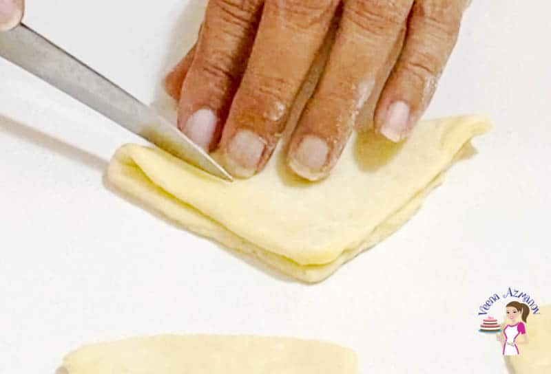 Shaping the danish star shaped pastry