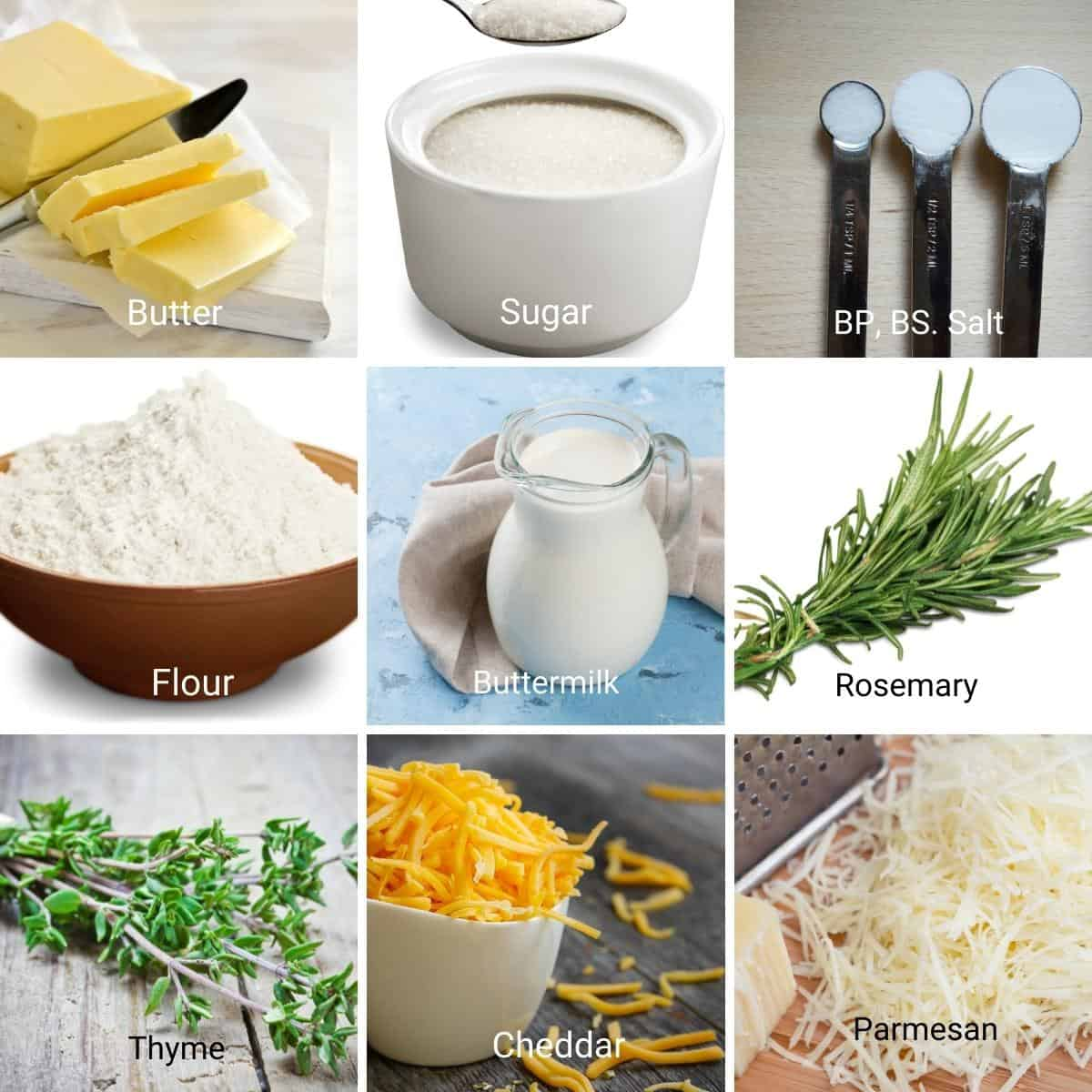 Ingredients for cheddar cheese.
