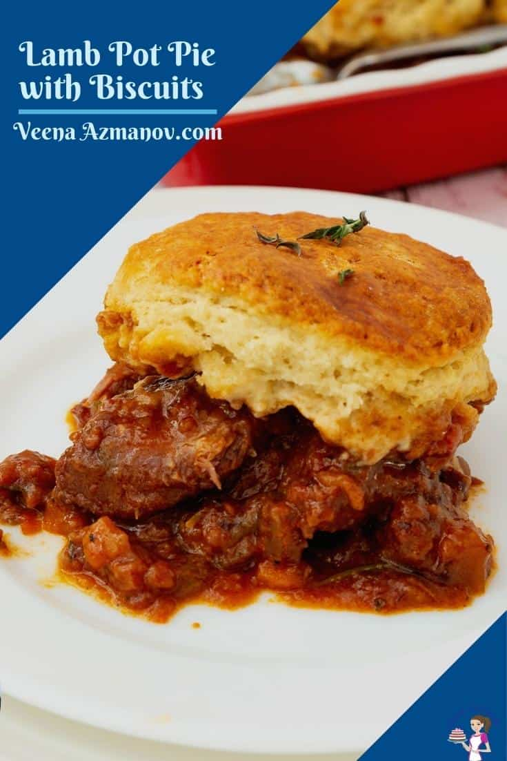 Here's taking my lamb in red wine to the next level topping it with homemade biscuits. This lamb pot pie is our weekend comfort food with fork-tender meat and buttery flaky biscuits. #lamb #potpie #lambpotpie #biscuits #lambwithbiscuits #lambpotpie #lambwithbiscuits #potpierecipe #lambrecipes #bestlambpie #lambpie #maincourse #bakedlamb  via @Veenaazmanov
