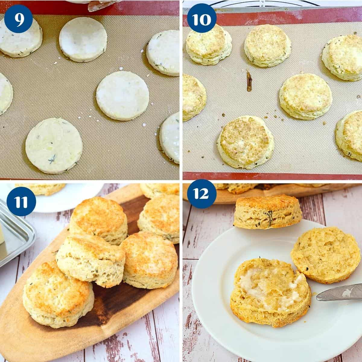 Progress pictures baking the biscuits with cheddar cheese.