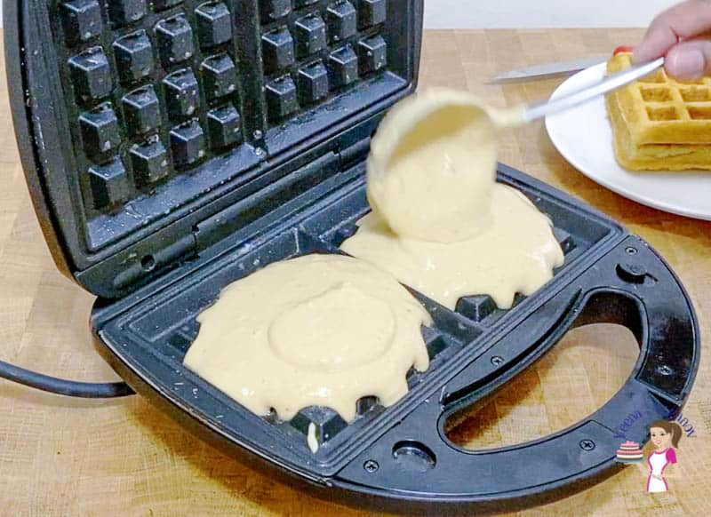 Add batter to the waffle iron
