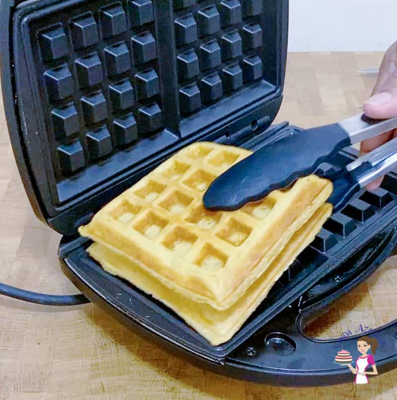 remove the waffles from the maker and set aside