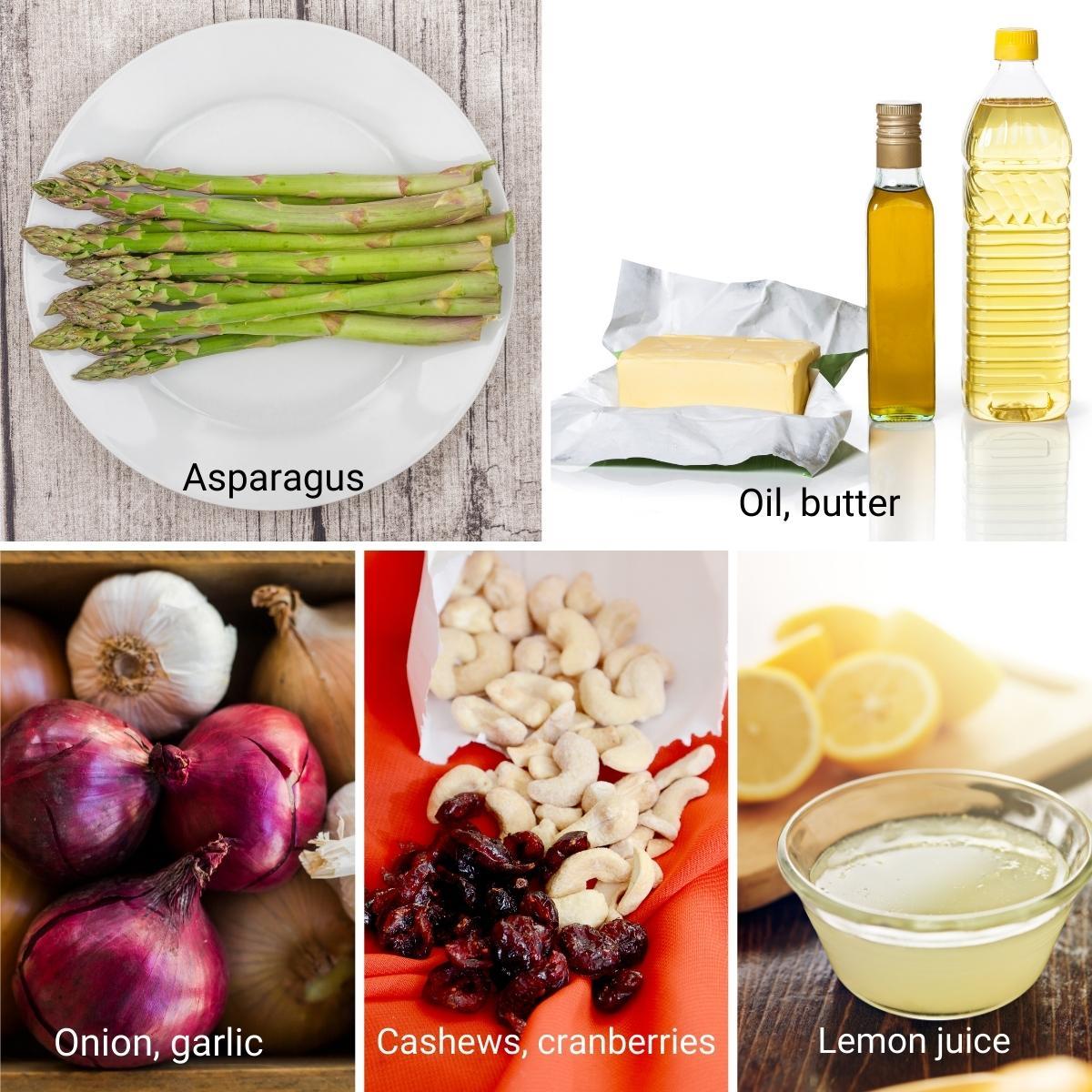 Ingredients Shot Collage for sautéed asparagus.