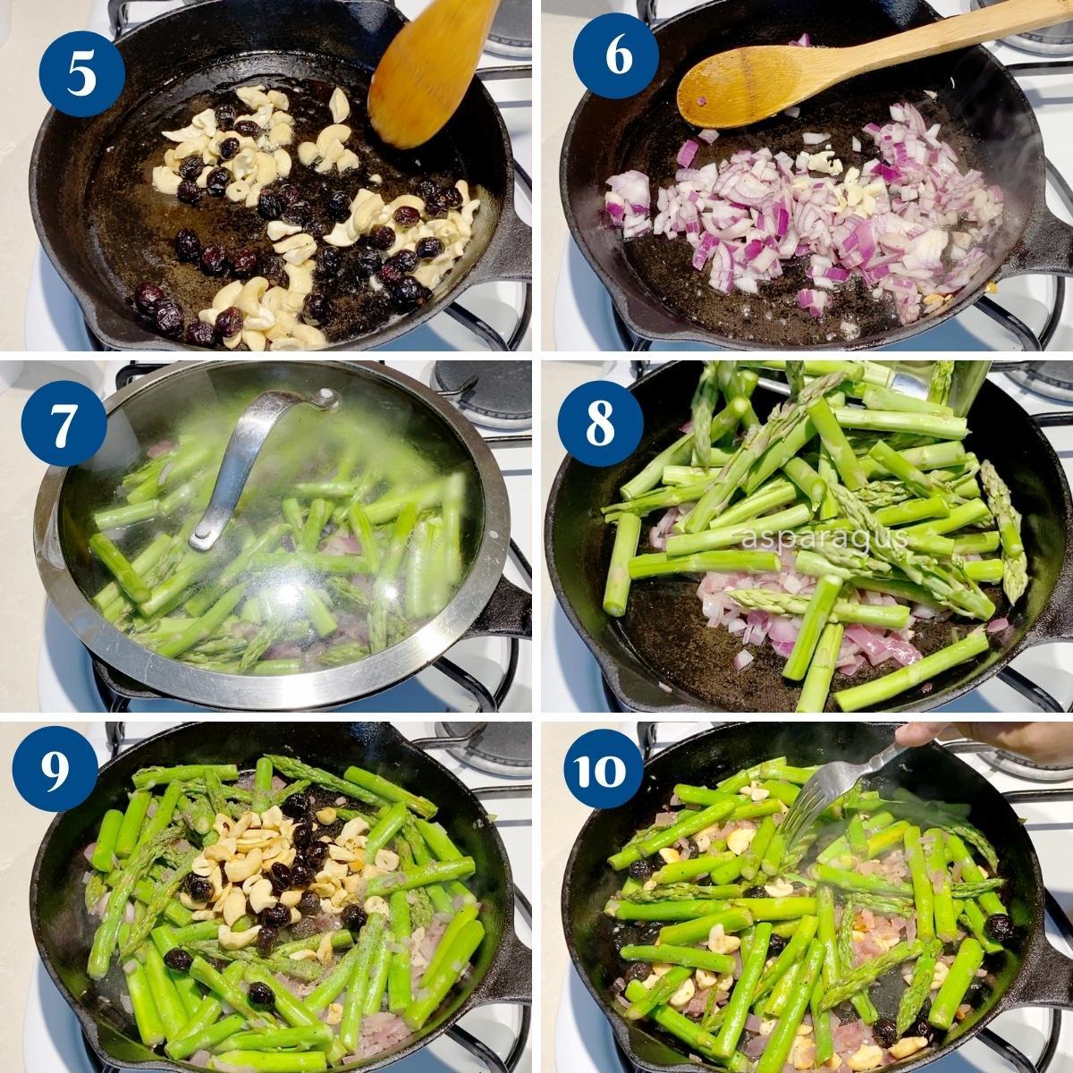 Progress pictures collage for sautéed asparagus.