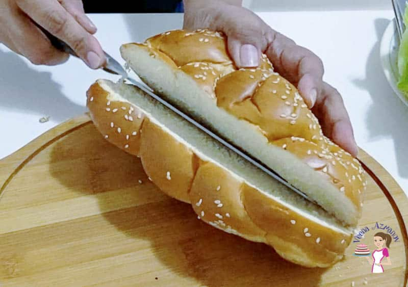 Slice the challah in half