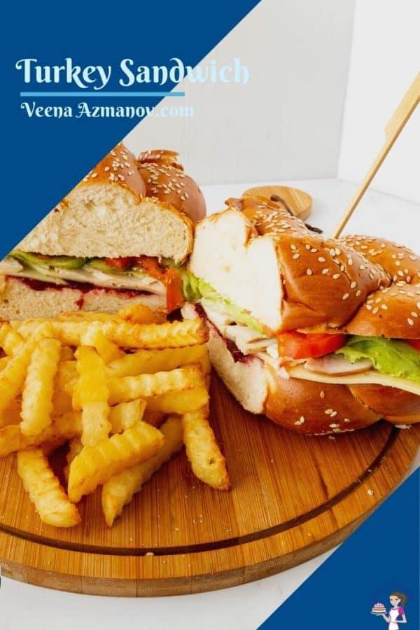 A challah bread sandwich Pinterest Image