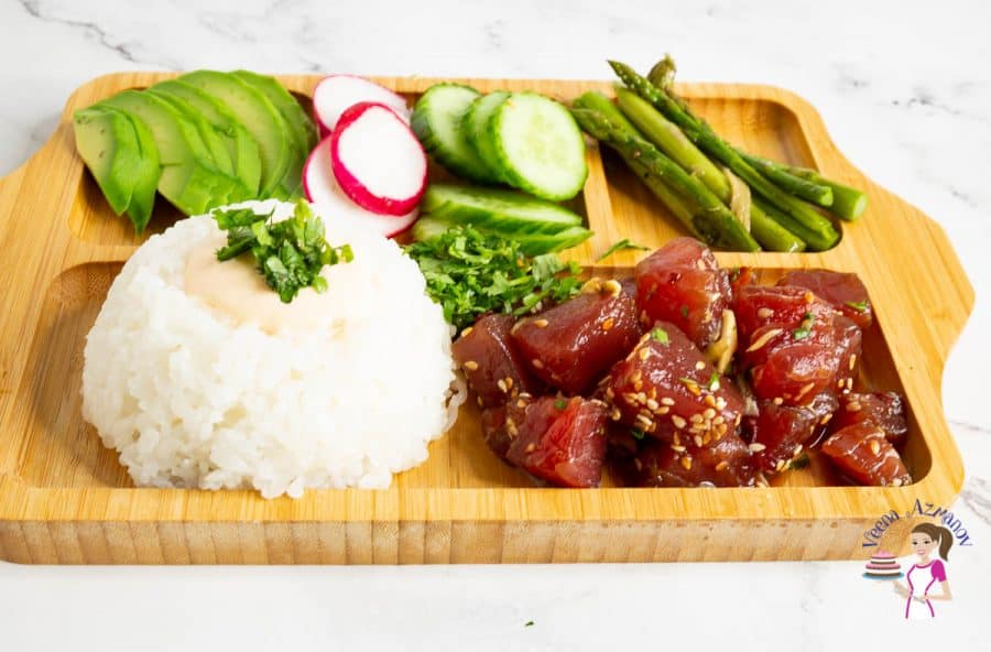 Ahi tuna poke bowl in a wooden plate