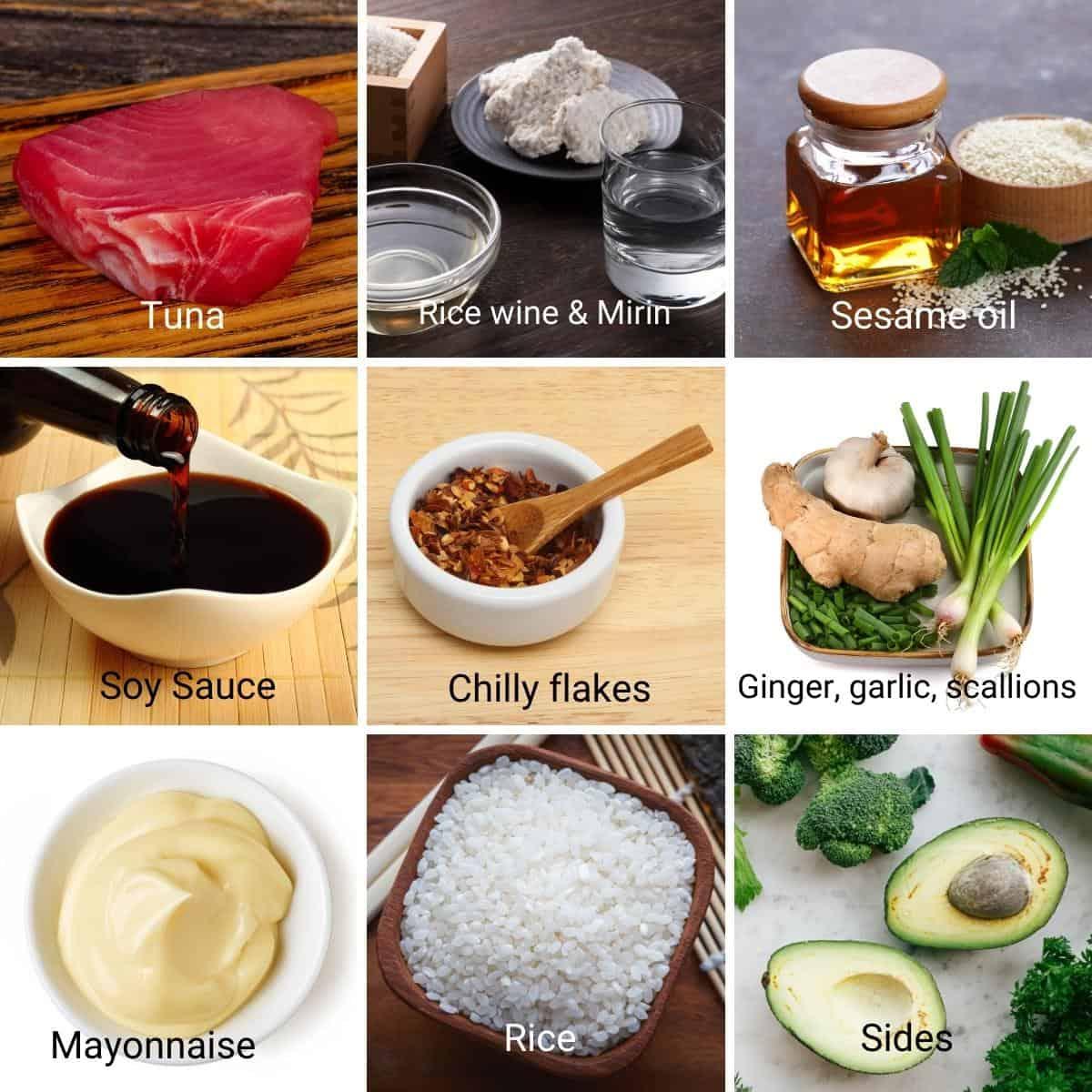 Ingredients shot collage for ahi poke bowl.