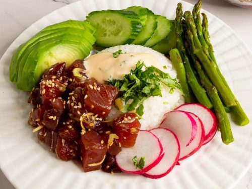Ahi tuna over steamed rice.