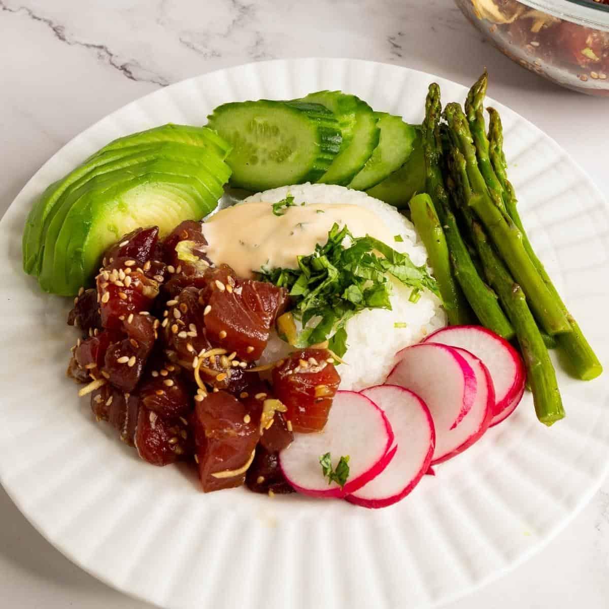 Ahi tuna over steamed rice.