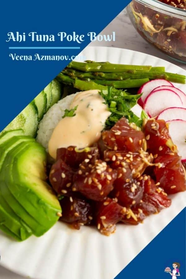 Pinterest image for ahi tuna poke bowl