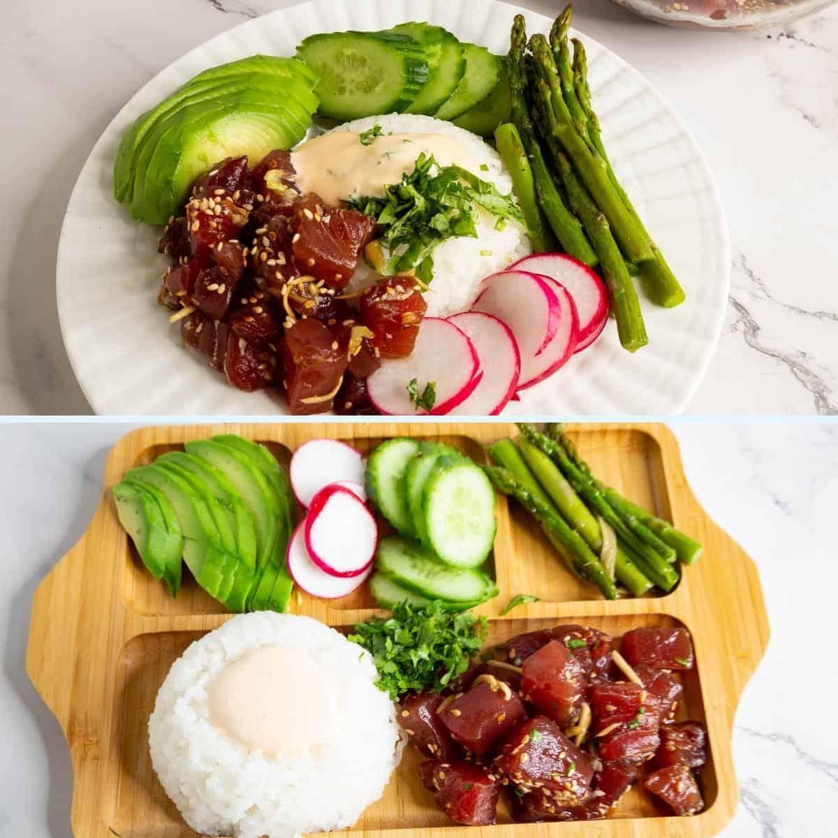 Two bowls with ahi tuna poke over rice.
