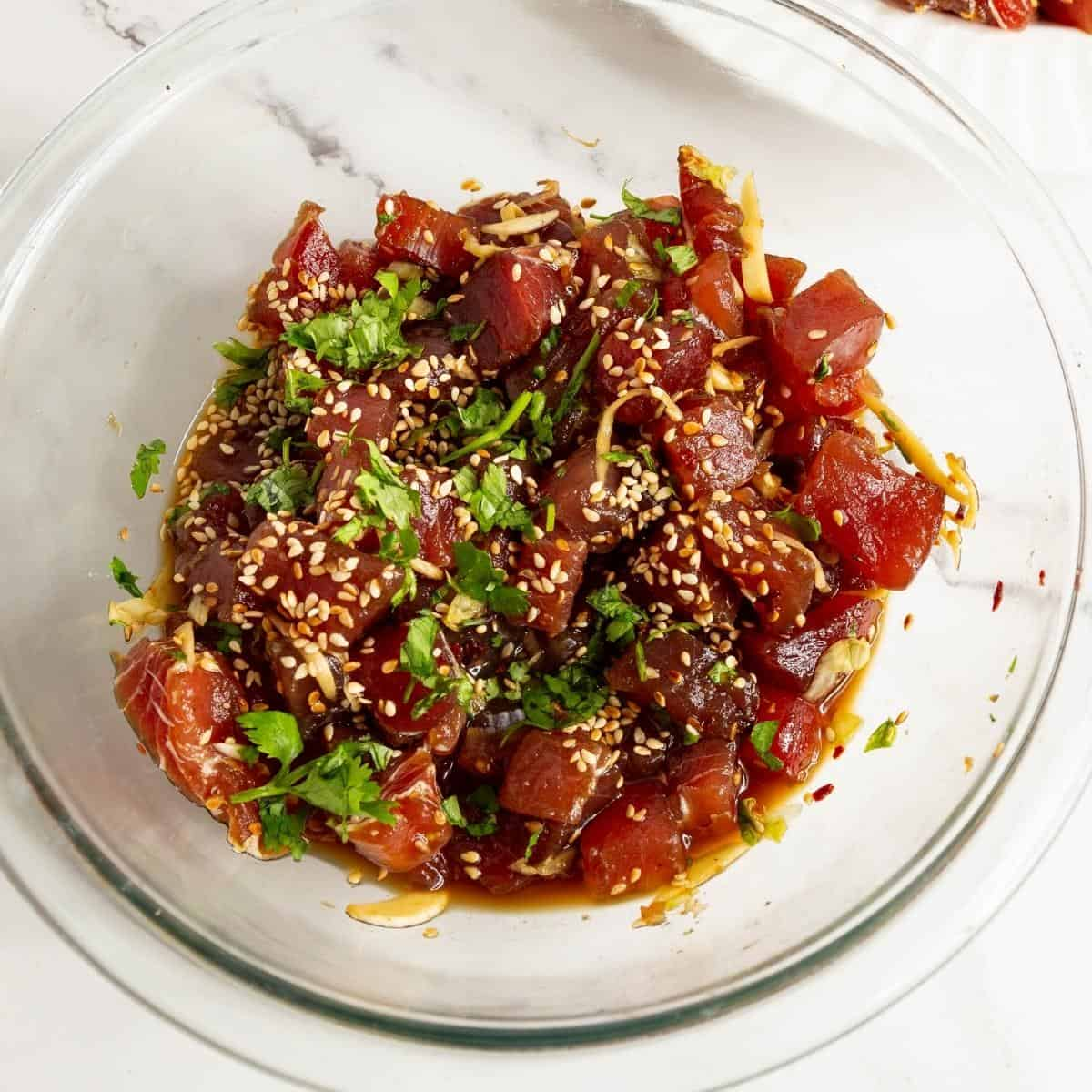A bow of marinate tuna.