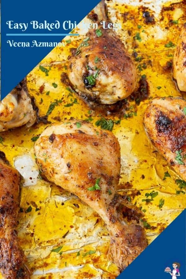 Pinterest image for baked chicken legs