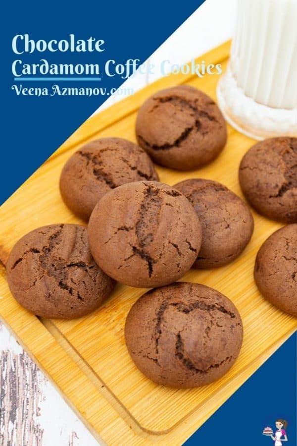 Pinterest image for chocolate cardamom coffee cookies