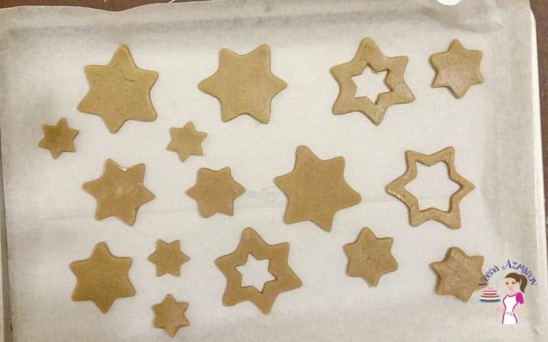 Star cookies on a baking tray