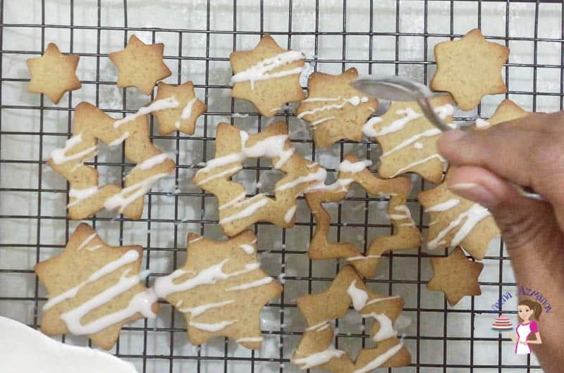Glaze the cookies with a sugar glaze