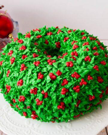 A wreath cake on a cake stand