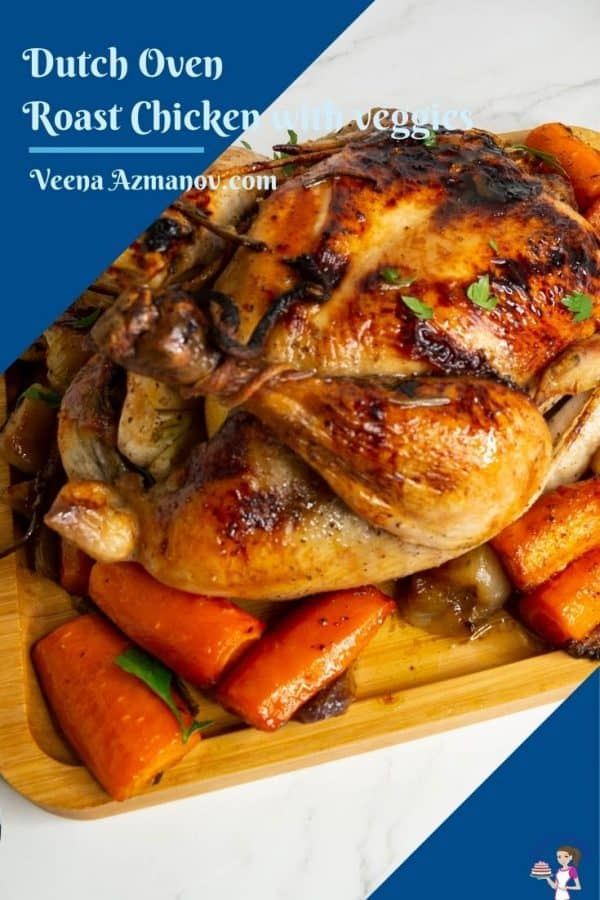 Pinterest image for chicken roasted in dutch oven