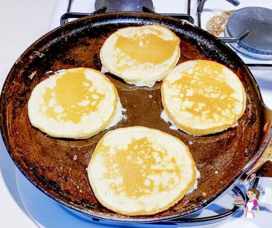 Flip the eggnogs on the skillet
