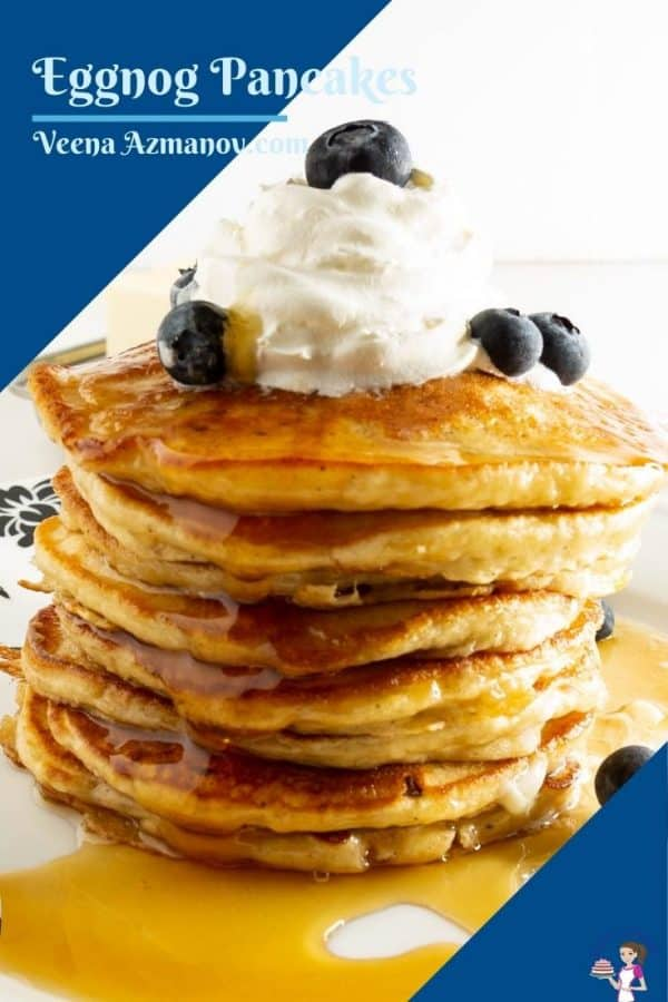 Pinterest image for holiday pancakes