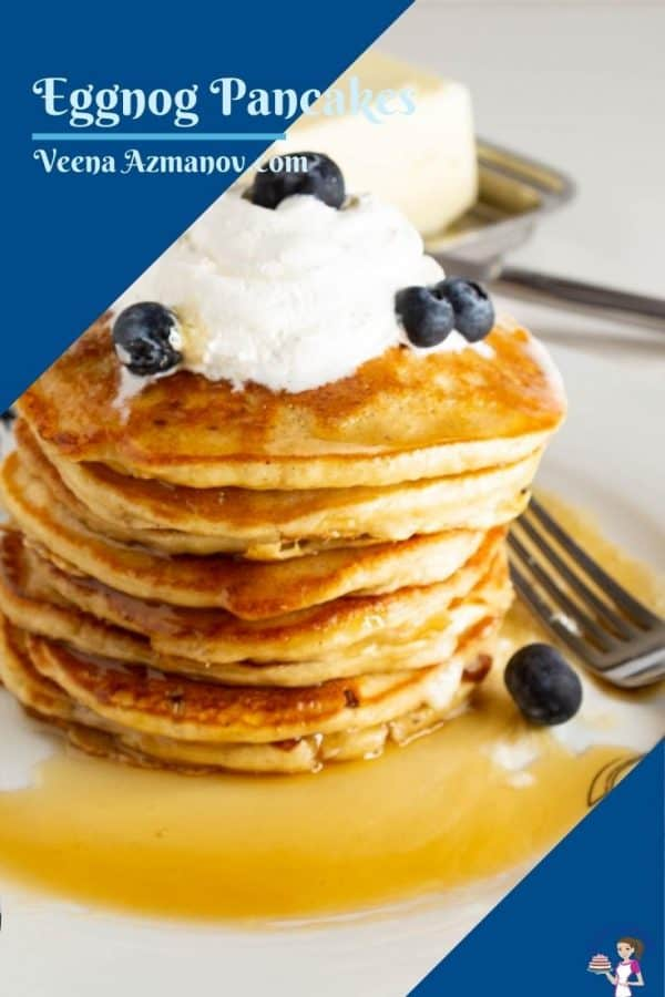 Pinterest image for Pancakes with eggnog