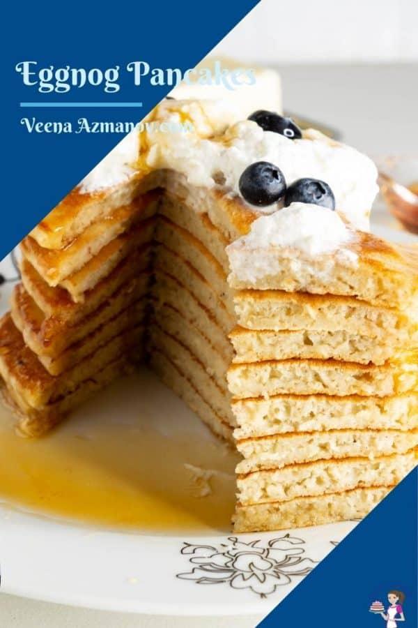 A pinterest image for eggnog pancakes