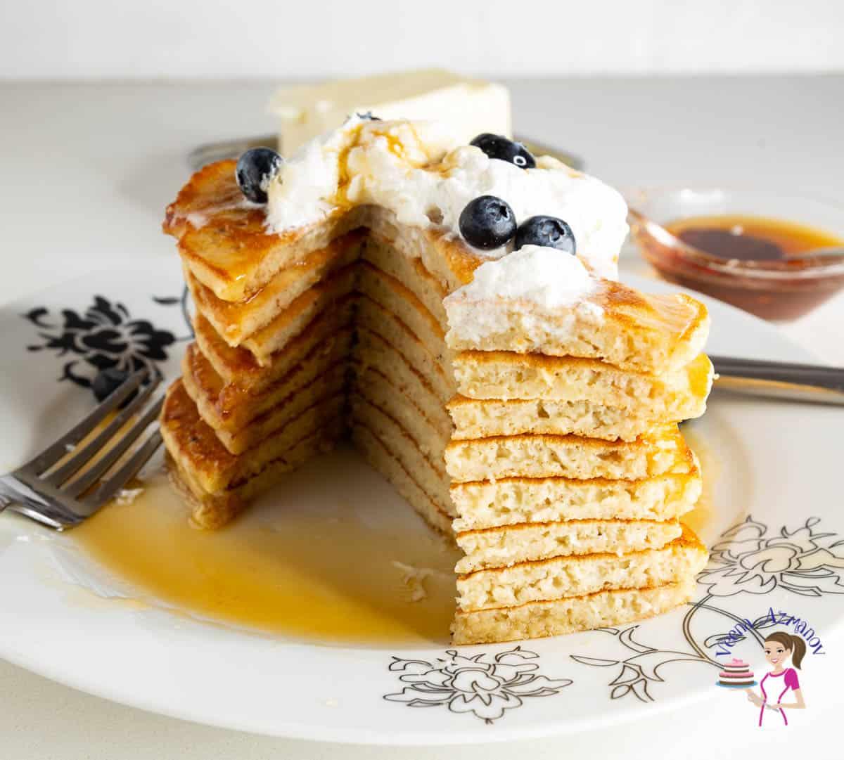 A cut stack of eggnog pancakes