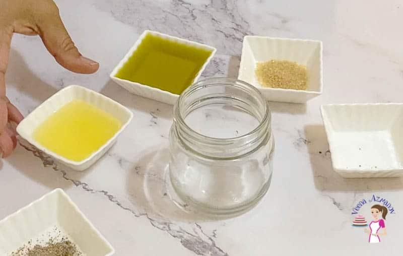Add all salad dressing ingredients to a mason jar