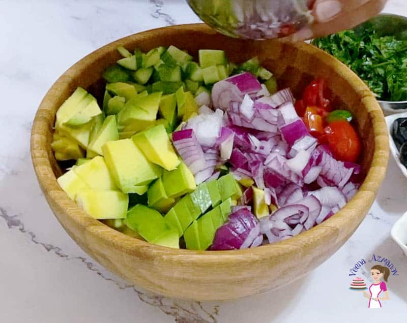 Add the veggies to the salad bowl