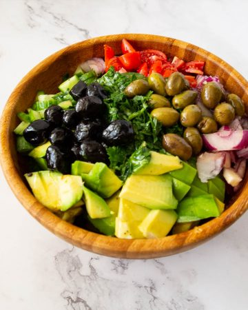 A salad bowl with avocado salad